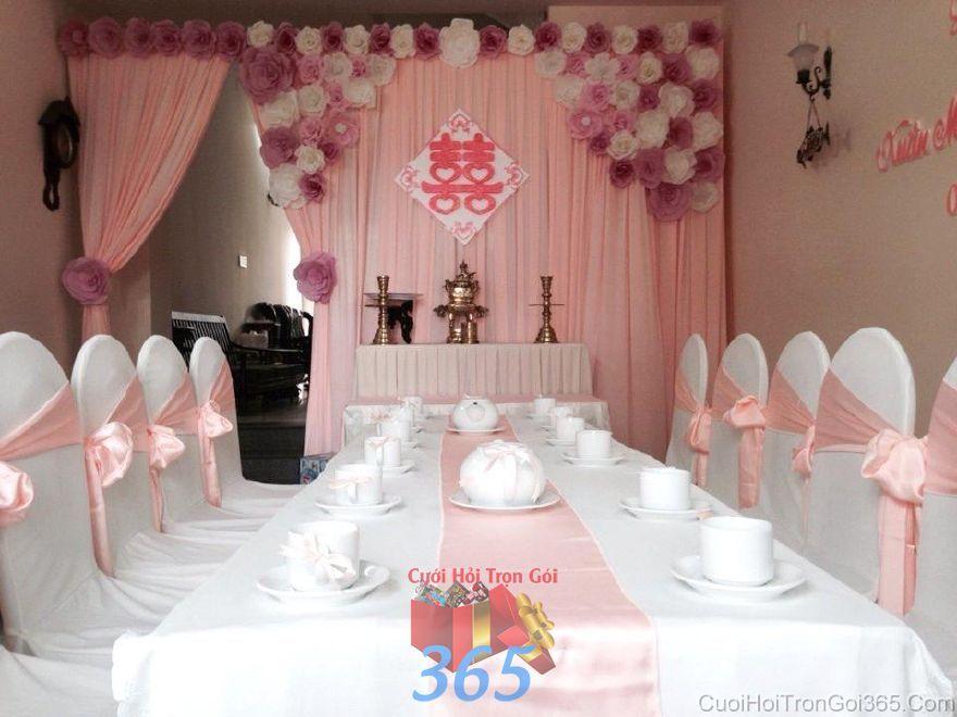 Trang trí nhà ngày đám cưới hỏi tông màu hồng nhạt với hoa giấy trắng TTNCH94 : Mẫu cưới hỏi trọn gói 365 của công ty dịch vụ trang trí nhà tiệc cưới hỏi đẹp rẻ uy tín ở tại quận Tân Phú Sài Gòn TPHCM Gò Vấp