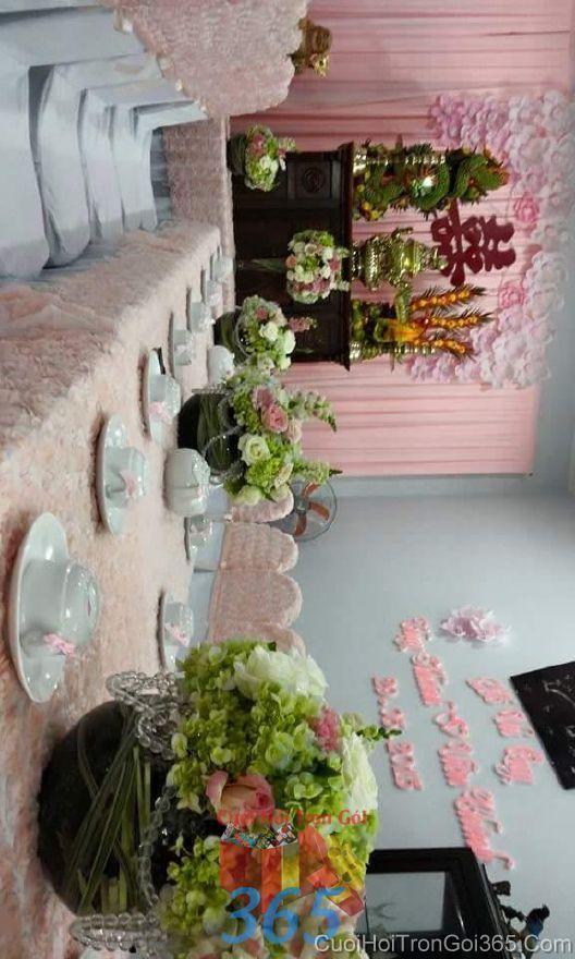 Trang trí nhà ngày đám cưới hỏi tông màu hường với vải n TTNCH92 : Mẫu cưới hỏi trọn gói 365 của công ty dịch vụ trang trí nhà tiệc cưới hỏi đẹp rẻ uy tín ở tại quận Tân Phú Sài Gòn TPHCM Gò Vấp