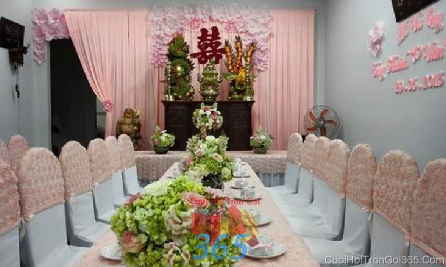 Trang trí nhà ngày đám cưới hỏi tông màu h TTNCH93 : Mẫu cưới hỏi trọn gói 365 của công ty dịch vụ trang trí nhà tiệc cưới hỏi đẹp rẻ uy tín ở tại quận Tân Phú Sài Gòn TPHCM Gò Vấp