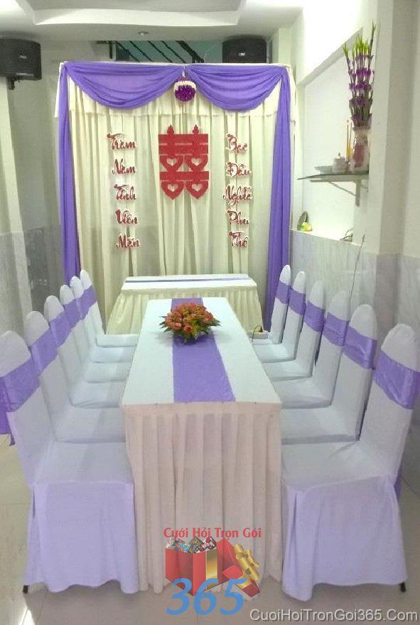 Trang trí nhà ngày đám cưới hỏi tông màu tím hoa cà nhẹ n TTNCH95 : Mẫu cưới hỏi trọn gói 365 của công ty dịch vụ trang trí nhà tiệc cưới hỏi đẹp rẻ uy tín ở tại quận Tân Phú Sài Gòn TPHCM Gò Vấp