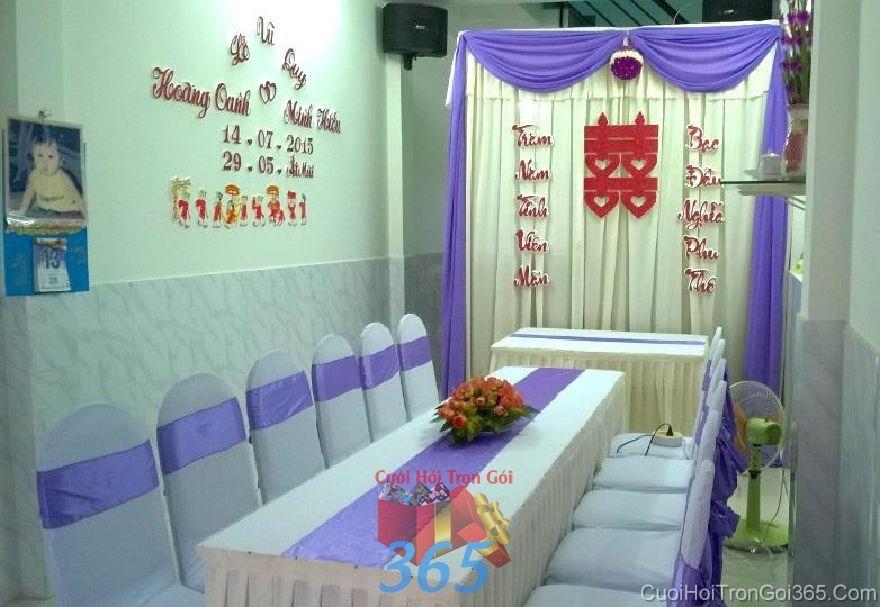 Trang trí nhà ngày đám cưới hỏi tông màu tím ho TTNCH96 : Mẫu cưới hỏi trọn gói 365 của công ty dịch vụ trang trí nhà tiệc cưới hỏi đẹp rẻ uy tín ở tại quận Tân Phú Sài Gòn TPHCM Gò Vấp
