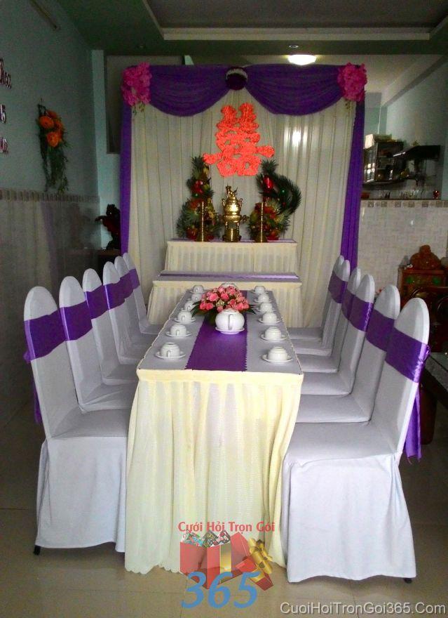 Trang trí nhà ngày đám cưới hỏi tông màu tím TTNCH98 : Mẫu cưới hỏi trọn gói 365 của công ty dịch vụ trang trí nhà tiệc cưới hỏi đẹp rẻ uy tín ở tại quận Tân Phú Sài Gòn TPHCM Gò Vấp