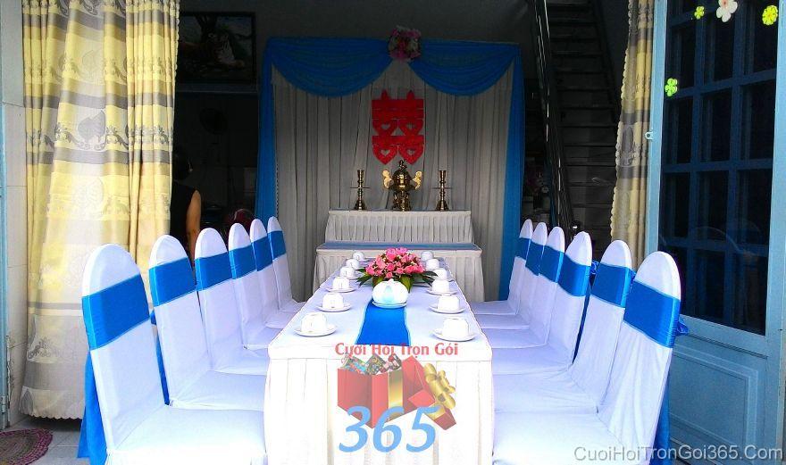 Trang trí nhà ngày đám cưới hỏi tông màu xanh  TTNCH100 : Mẫu cưới hỏi trọn gói 365 của công ty dịch vụ trang trí nhà tiệc cưới hỏi đẹp rẻ uy tín ở tại quận Tân Phú Sài Gòn TPHCM Gò Vấp