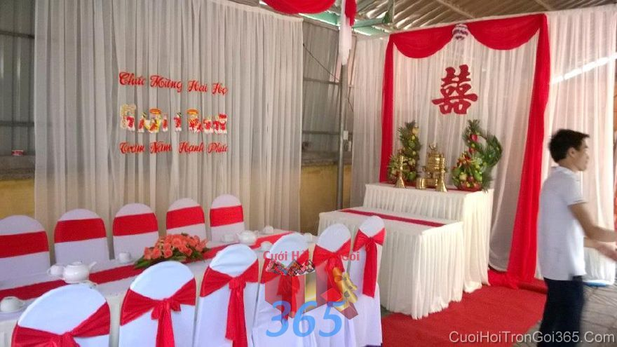 Trang trí nhà ngày đám cưới hỏi tông trắng đỏ son TTNCH101 : Mẫu cưới hỏi trọn gói 365 của công ty dịch vụ trang trí nhà tiệc cưới hỏi đẹp rẻ uy tín ở tại quận Tân Phú Sài Gòn TPHCM Gò Vấp