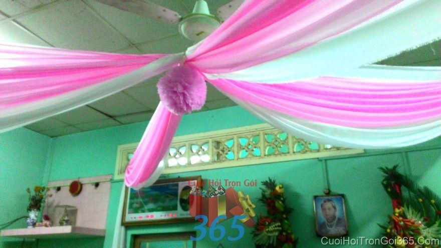 Trang trí trần nhà đám cưới tông hồng phấn với tú cầu và voan mềm CTN28 : Mẫu cưới hỏi trọn gói 365 của công ty dịch vụ trang trí nhà tiệc cưới hỏi đẹp rẻ uy tín ở tại quận Tân Phú Sài Gòn TPHCM Gò Vấp