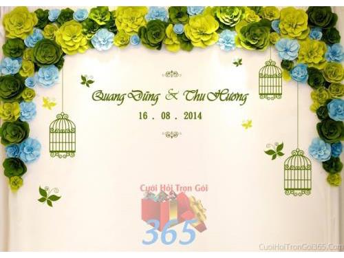 Backdrop hoa đám cưới tông màu xanh đa sắc tươi đẹp kết từ hoa giấy những bông hoa giấy đẹp xeo tròn và lồng chim, cánh BDNH57 : Mẫu cưới hỏi trọn gói 365 của công ty dịch vụ trang trí nhà tiệc cưới hỏi đẹp rẻ uy tín ở tại quận Tân Phú Sài Gòn TPHCM Gò Vấp