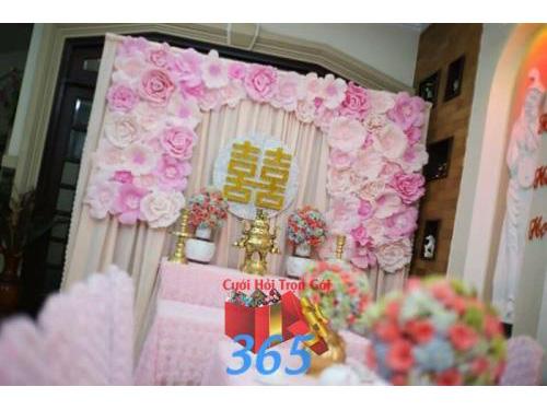 Trang trí nhà ngày cưới tông hồng kết hoa giấy : Mẫu cưới hỏi trọn gói 365 của công ty dịch vụ trang trí nhà tiệc cưới hỏi đẹp rẻ uy tín ở tại quận Tân Phú Sài Gòn TPHCM Gò Vấp