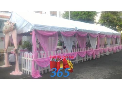Rạp cưới voan hồng ngọt ngào ngày cưới : Mẫu cưới hỏi trọn gói 365 của công ty dịch vụ trang trí nhà tiệc cưới hỏi đẹp rẻ uy tín ở tại quận Tân Phú Sài Gòn TPHCM Gò Vấp