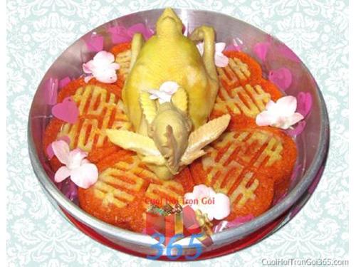 Mâm quả cưới hỏi xôi gấc gà trọn gói cho nghi lễ gia tiên ăn hỏi ngày đám  MQ34 : Mẫu cưới hỏi trọn gói 365 của công ty dịch vụ trang trí nhà tiệc cưới hỏi đẹp rẻ uy tín ở tại quận Tân Phú Sài Gòn TPHCM Gò Vấp
